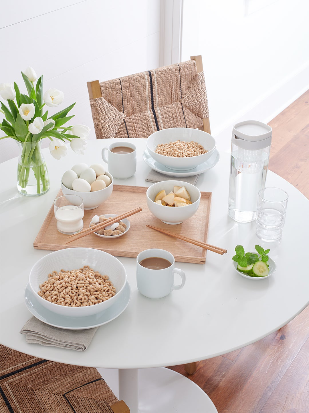 Muji products on a round white dining table