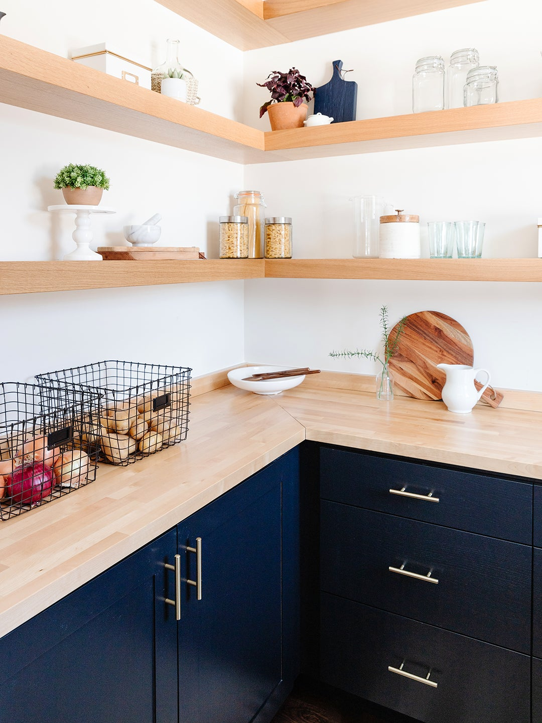 wood countertop with baskets