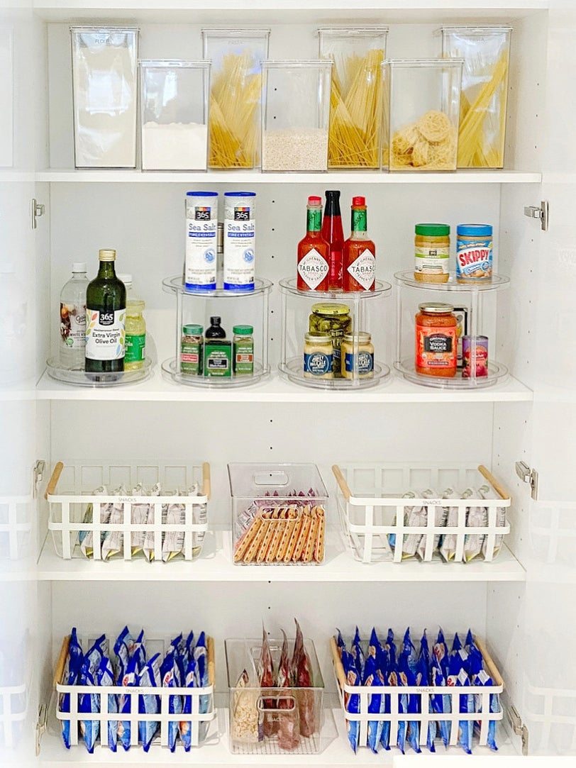 pantry with items in baskets