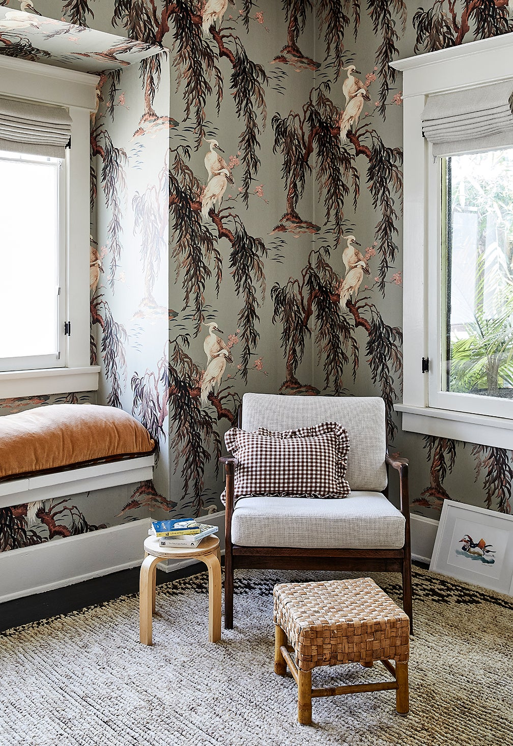 dreamy cane wallpaper in playroom