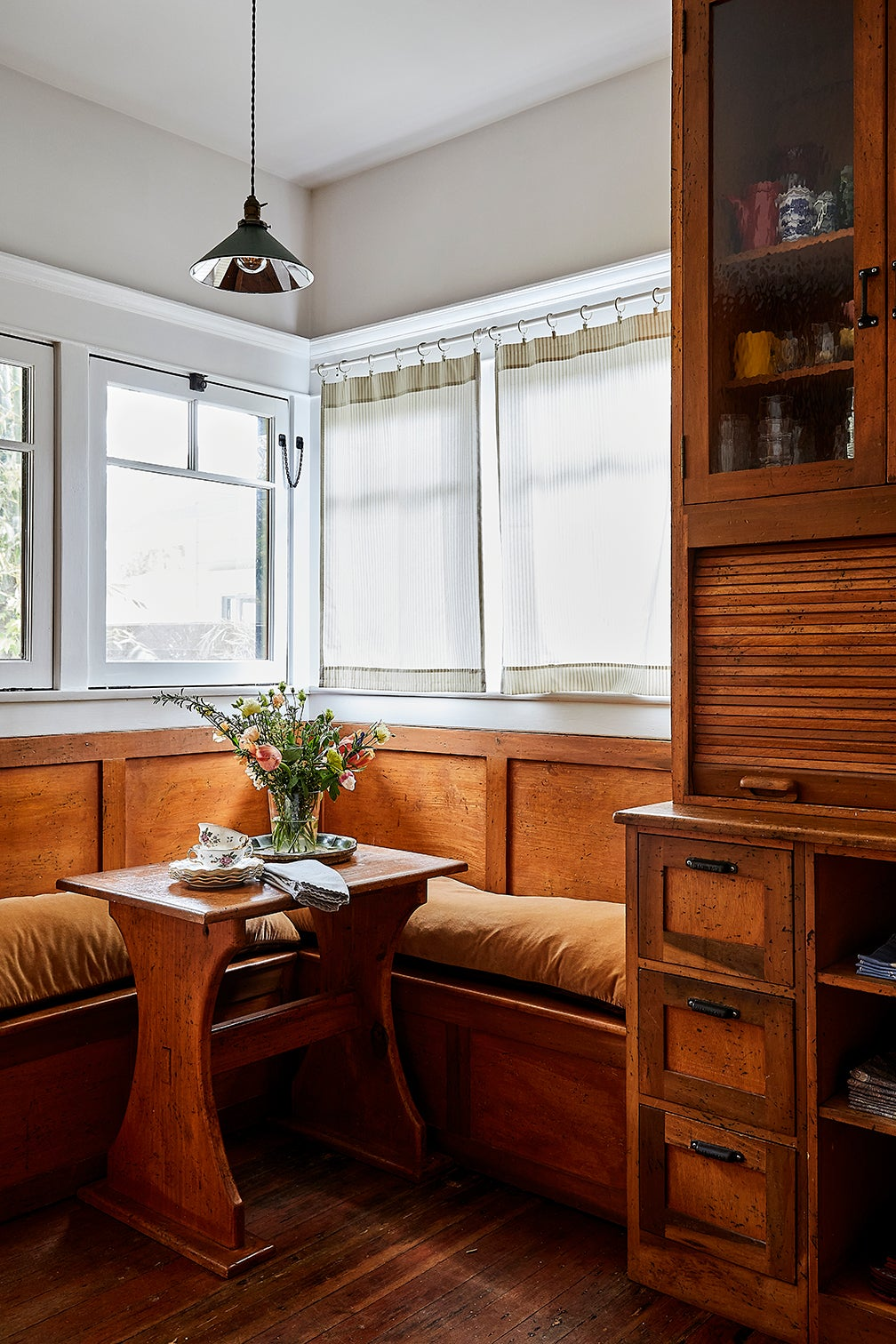 wood dining nook