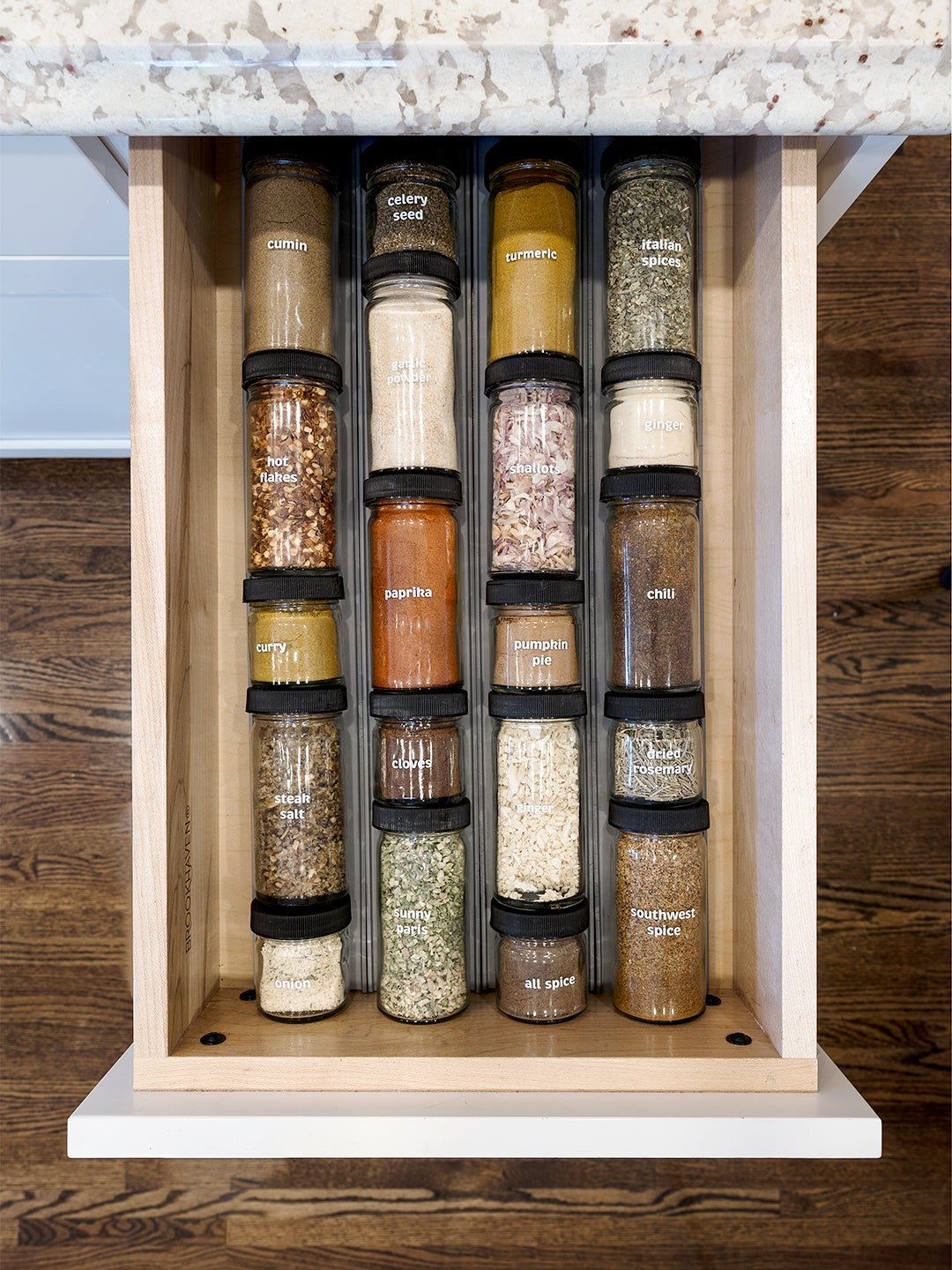 spice rack in drawer