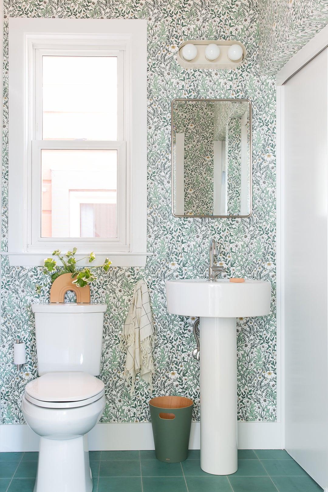 floral powder room