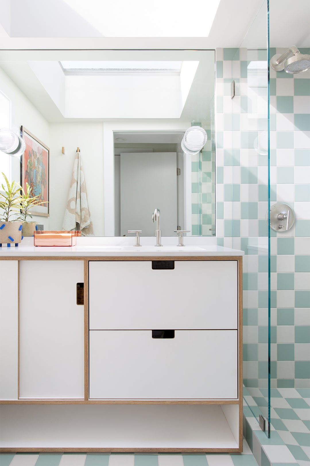 mint and white chekcered shower