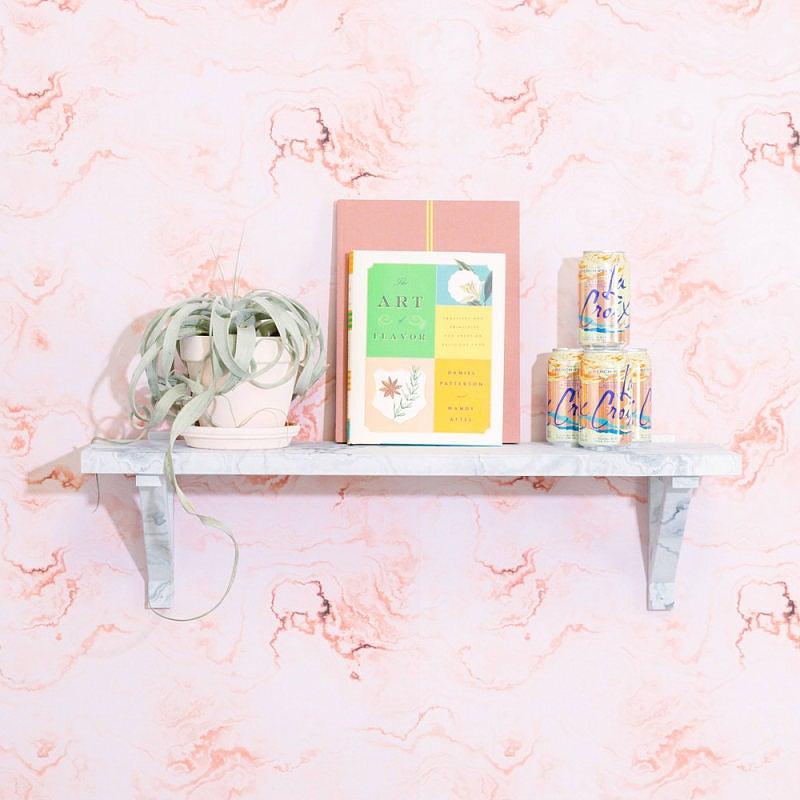 Pink Wallpaper Shelf