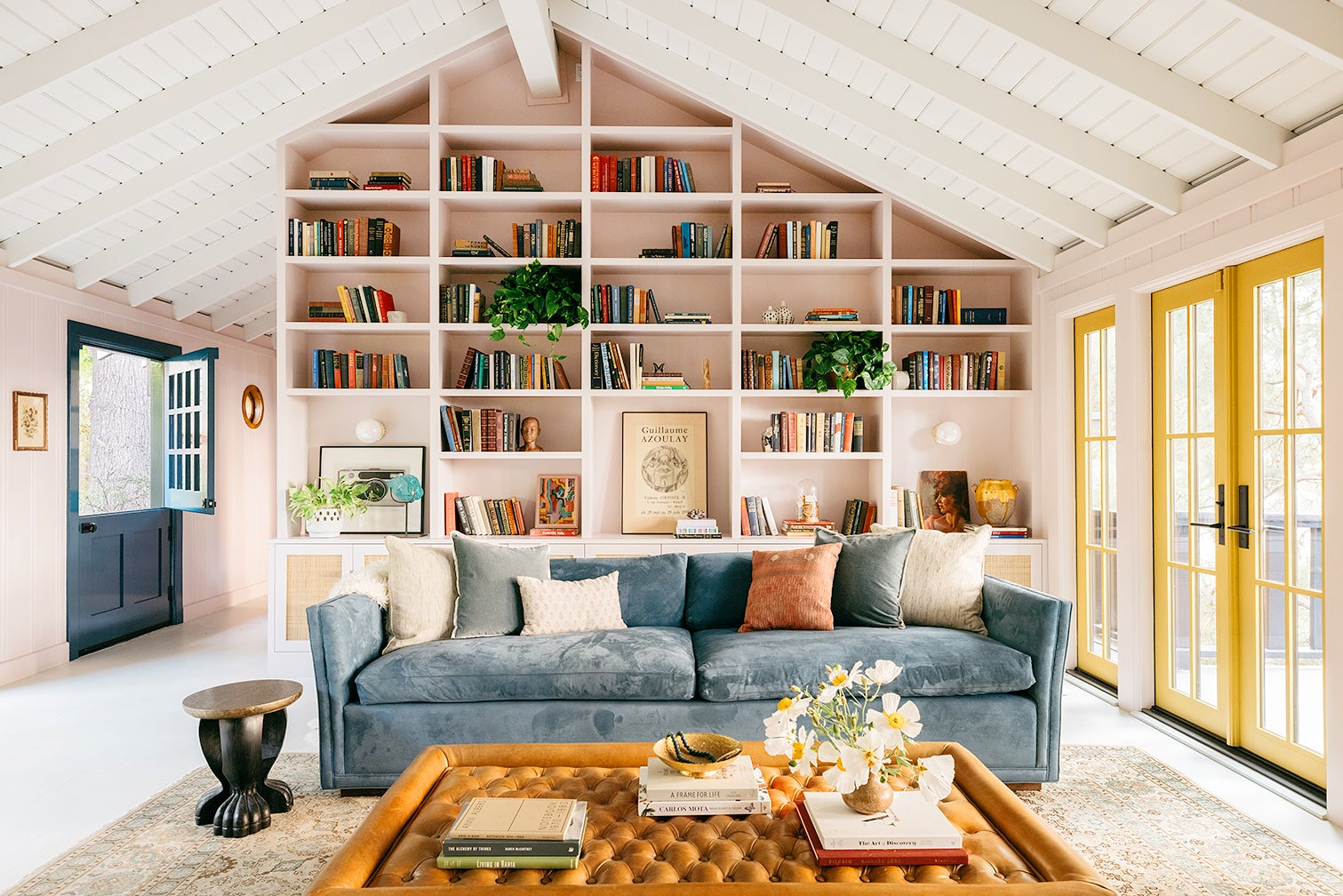 pink living room bookcase
