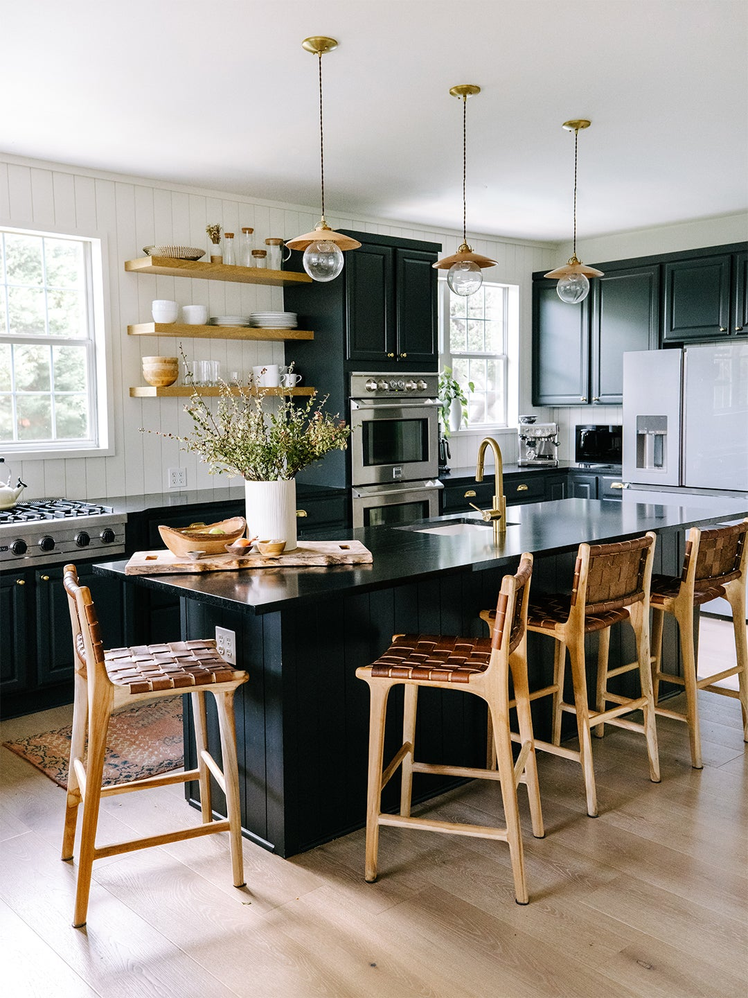 Black cabinets and countertop kitchen