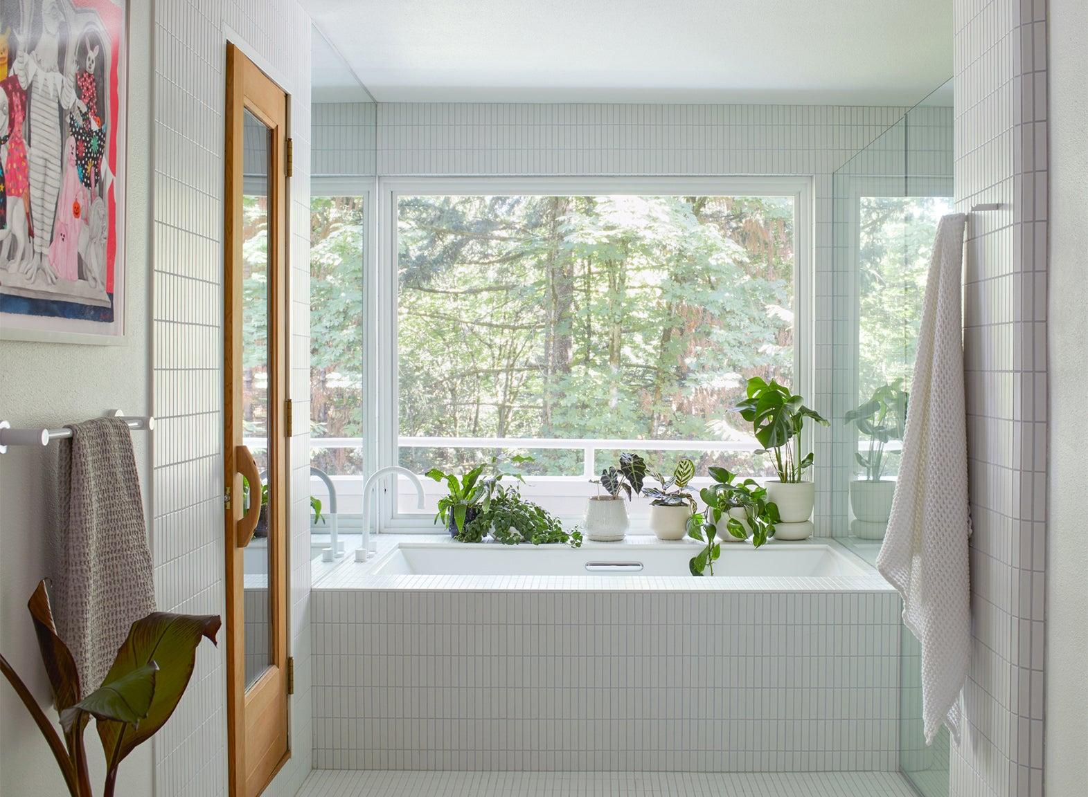 bright white-tiled bathroom