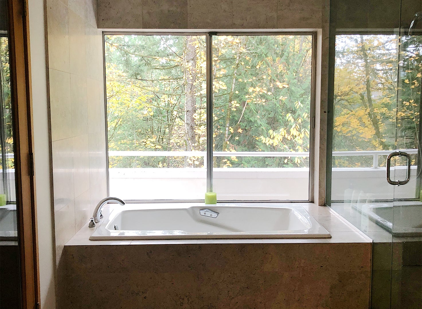 dated bathroom with built-in tub
