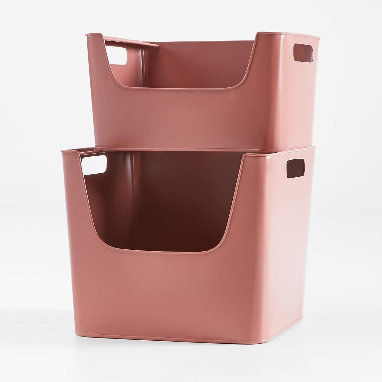 large-red-metal-stacking-storage-bin