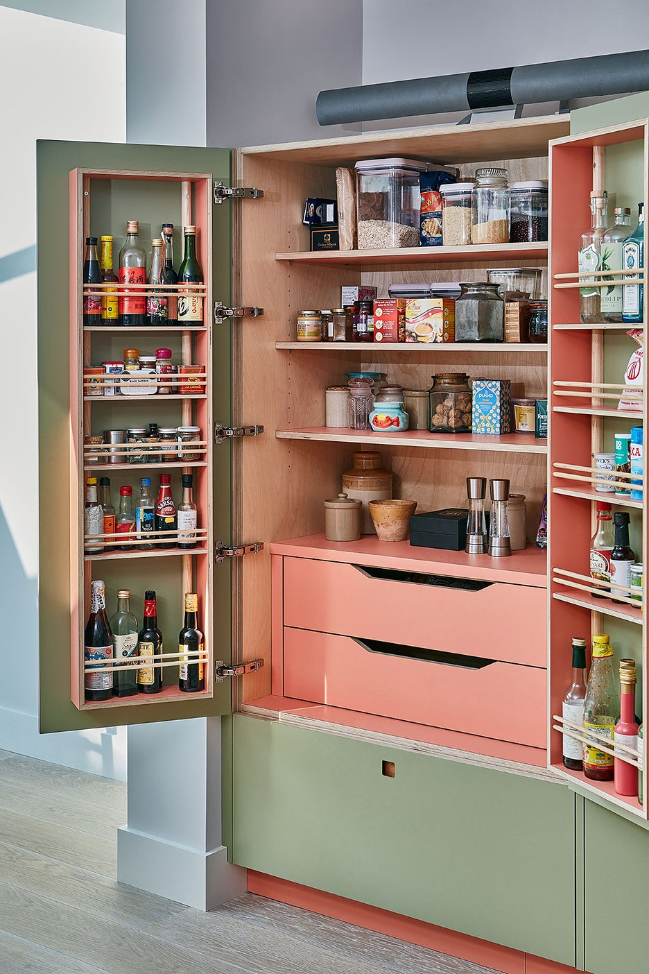 pink and green cabinet open