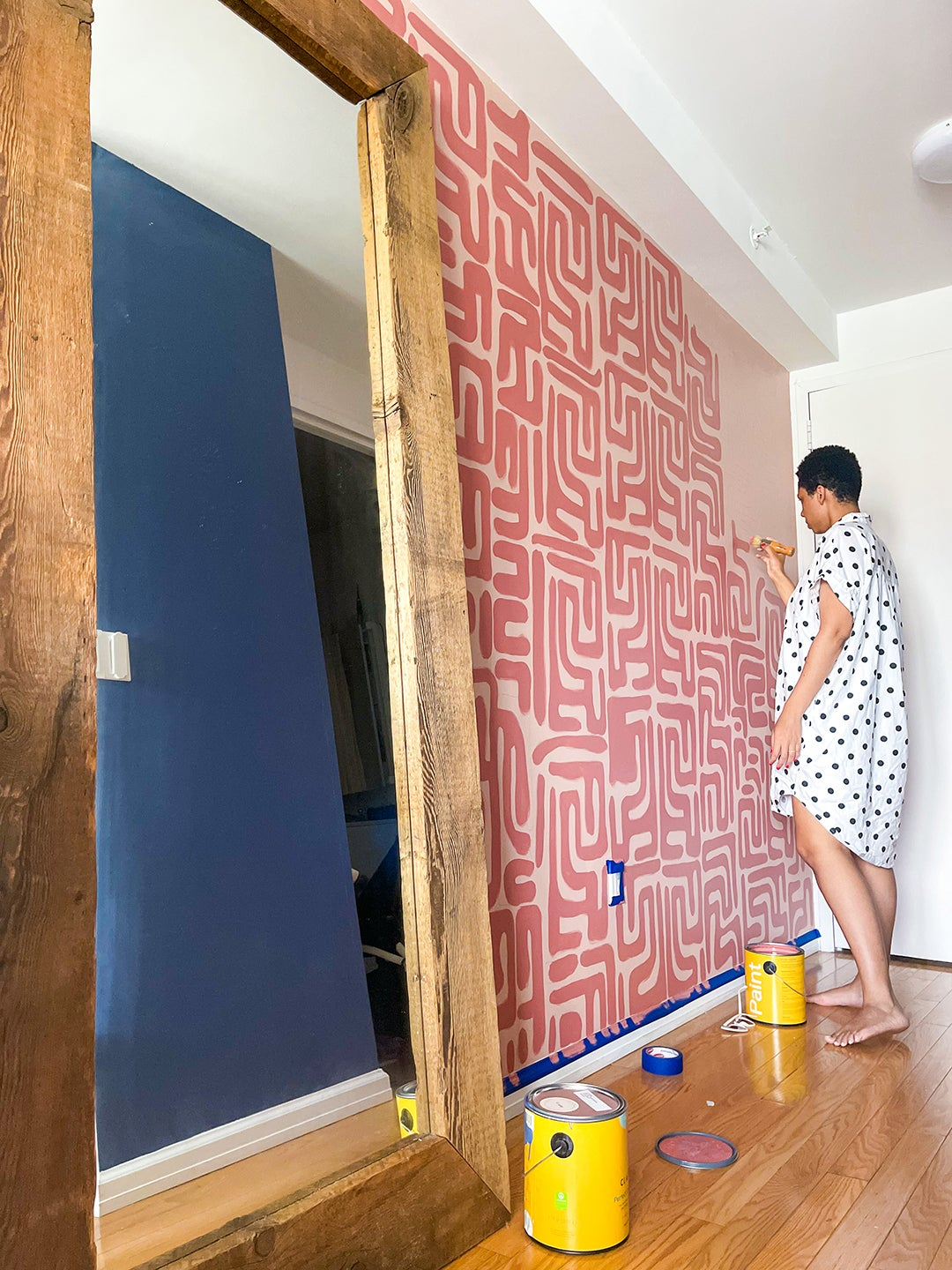 This DIYer Saved Nearly $1,000 by Stenciling Her Favorite Wallpaper Pattern