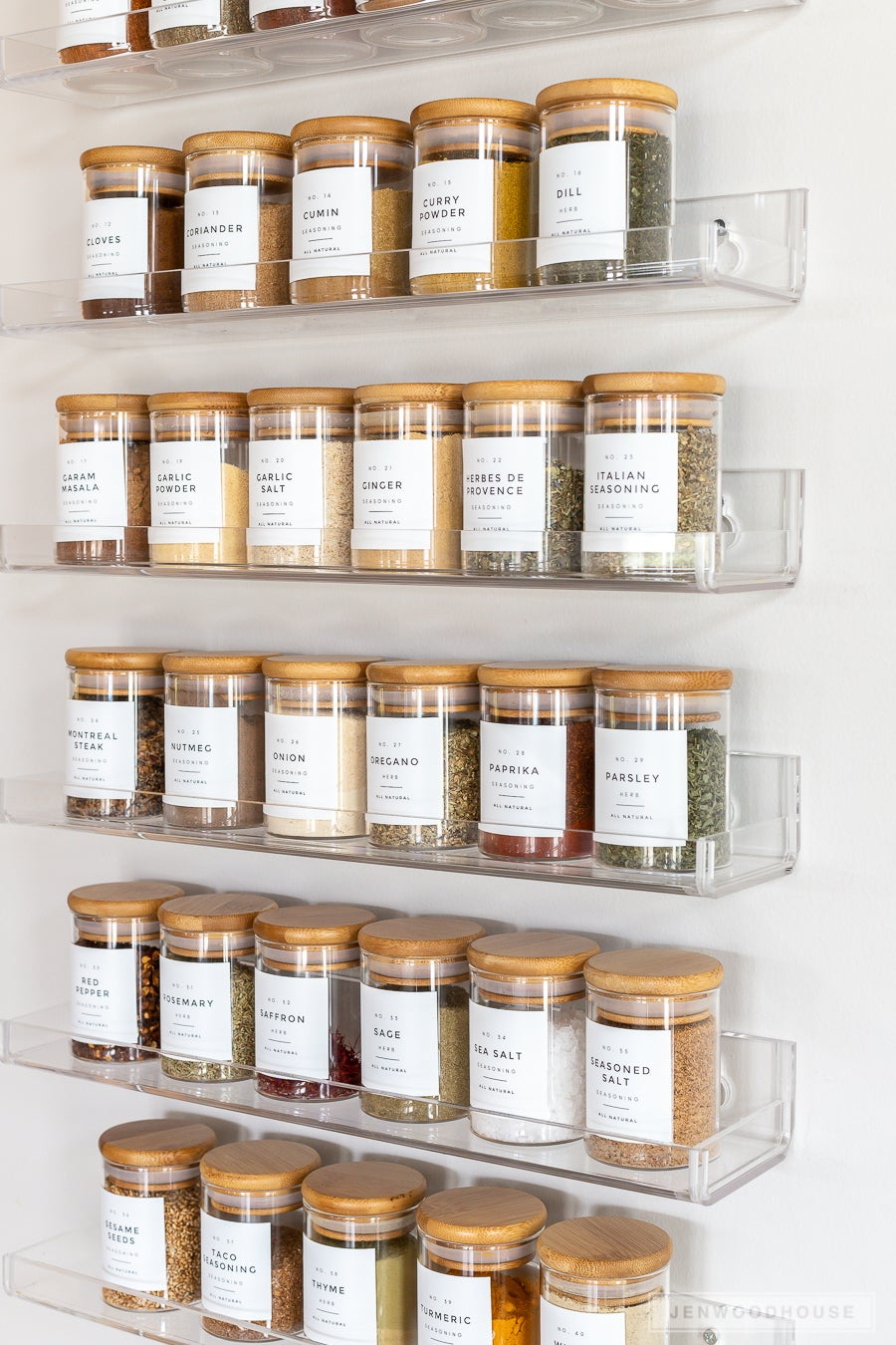 spices on acrylic shelves