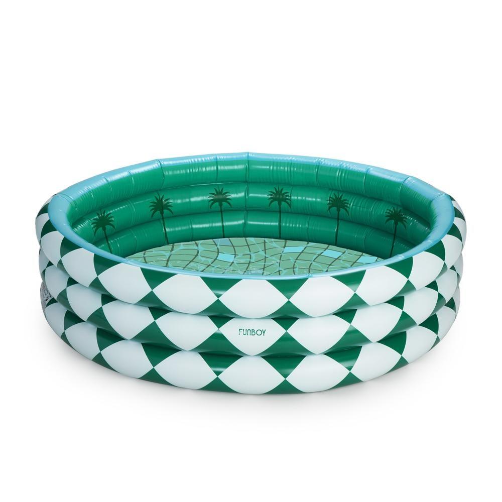 Green and White Diamond Tile Inflatable Pool