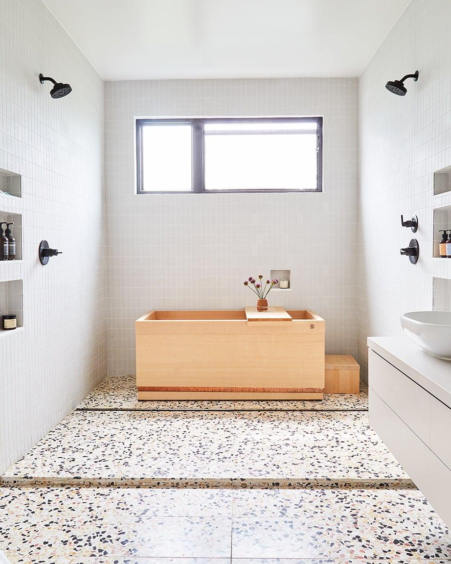 Bathroom, creamy tiles with terrazzo floor