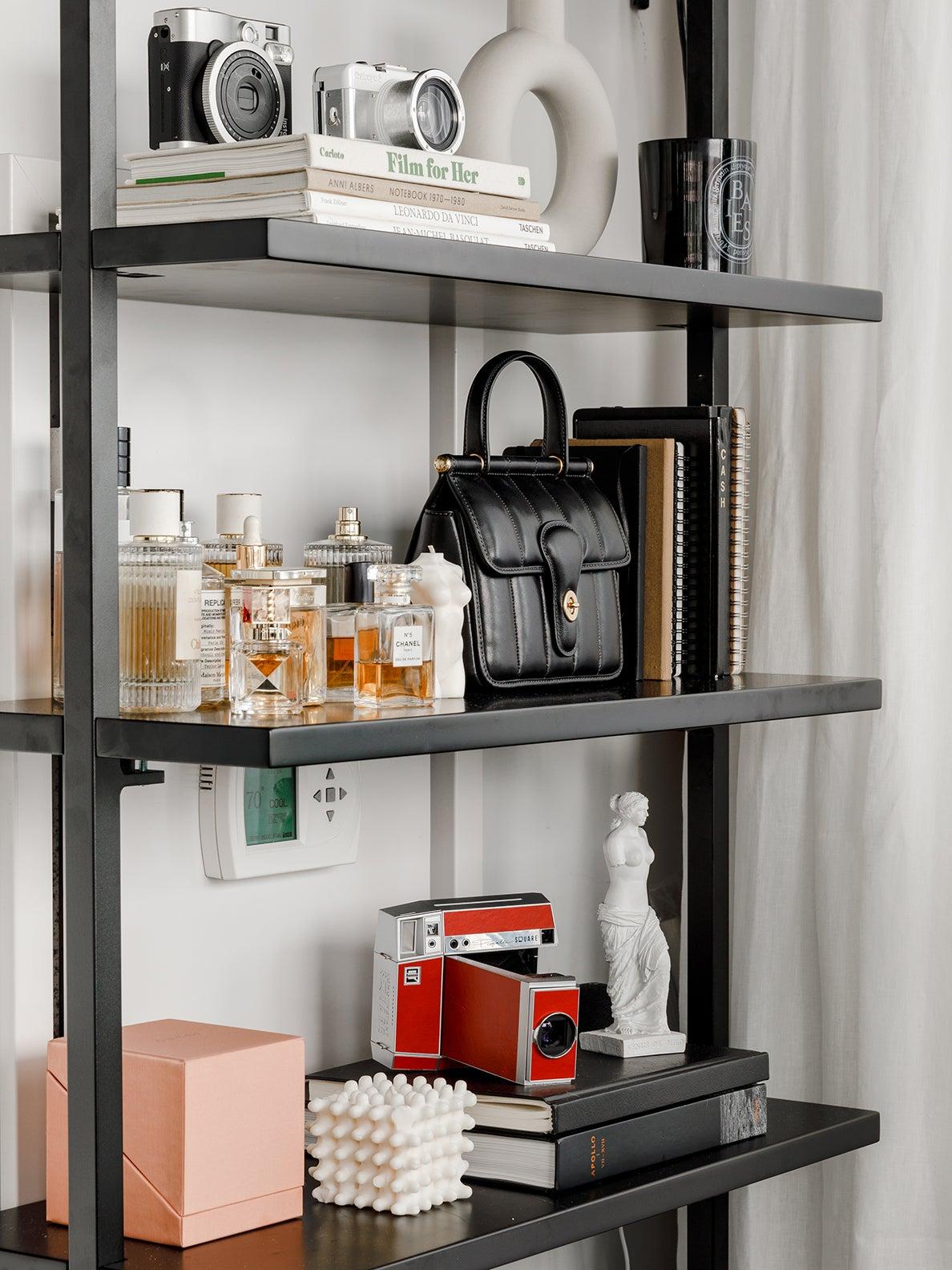 perfume on open shelves