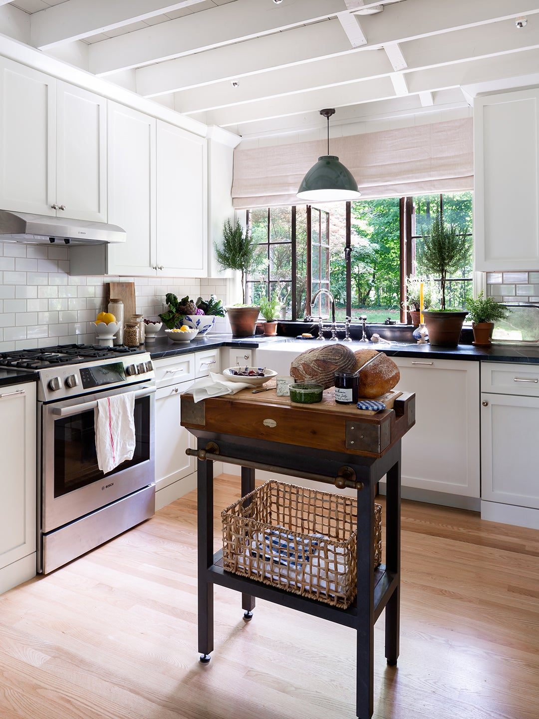 English Cottage Kitchen White Cabinets and Subway Tile