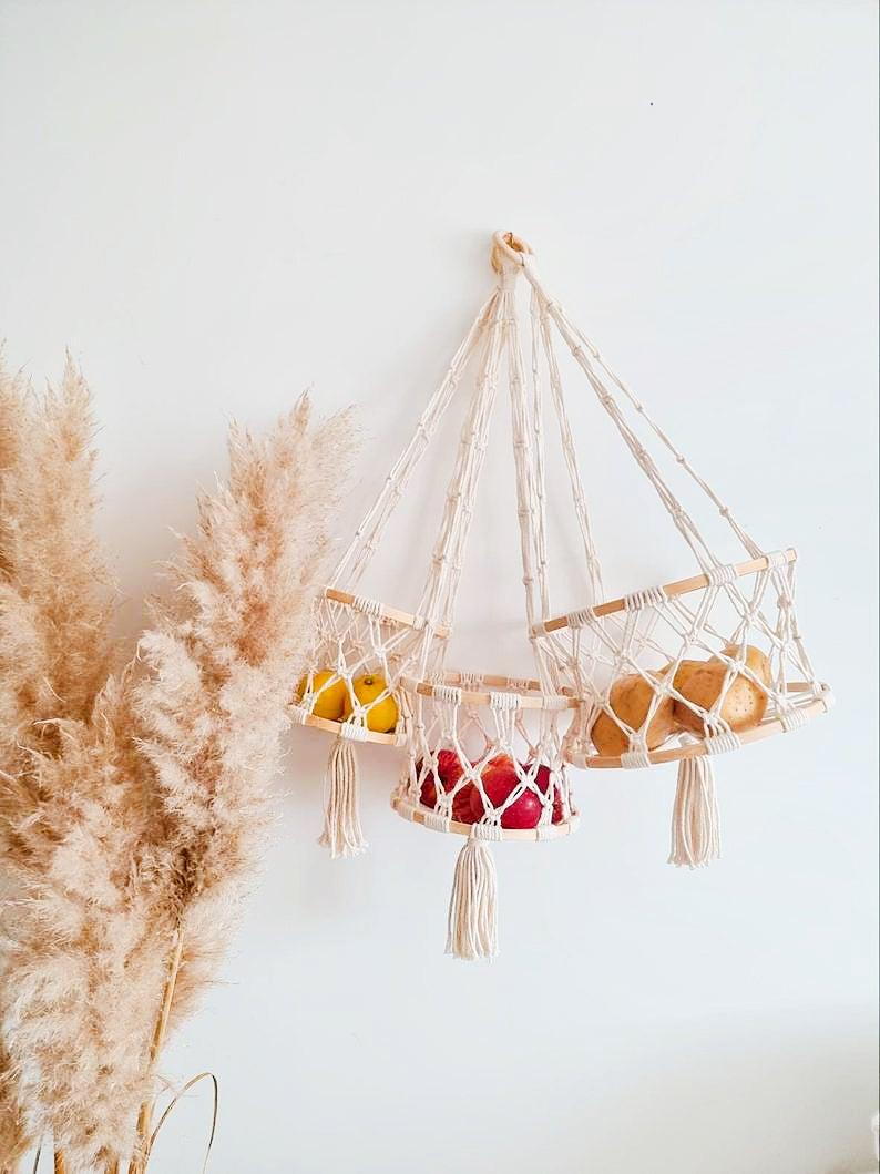 hanging macrame fruit storage baskets