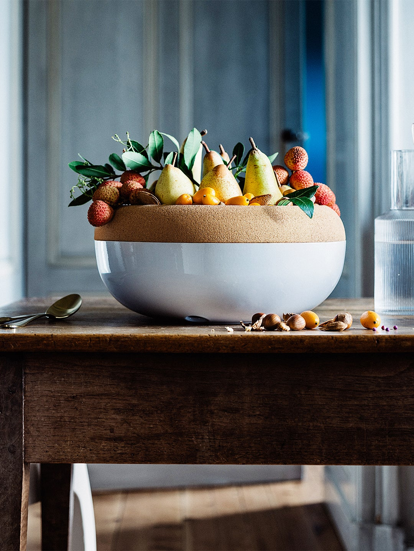 cork and ceramic fruit storage bowl