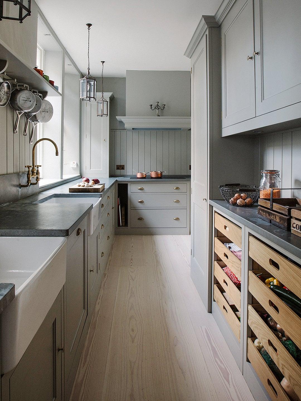 kitchen with slatted fruit storage trays