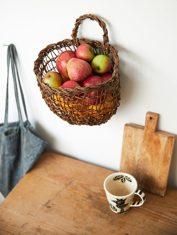 woven willow hanging fruit storage basket