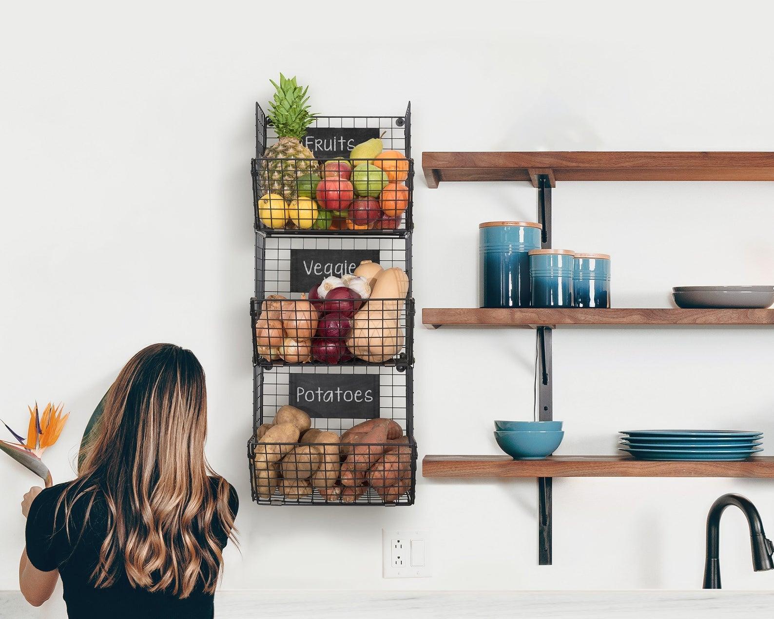 hanging three-tiered metal fruit storage