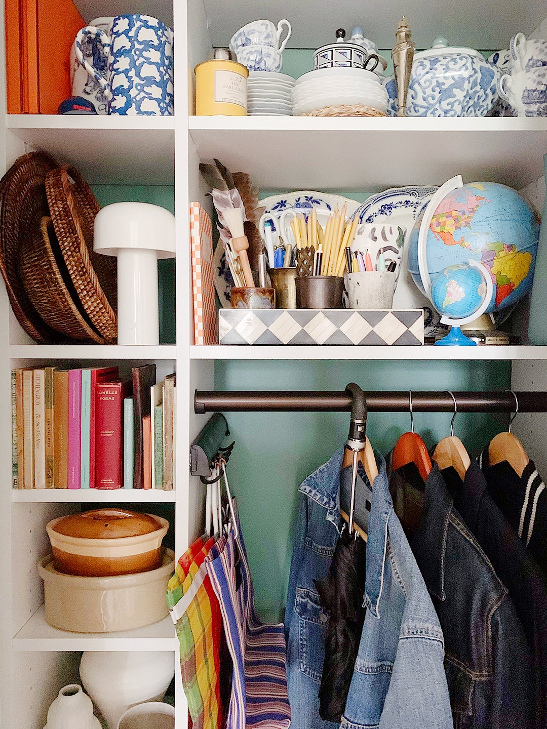 Our Style Editor's Front Hall Closet Features an Ingenious Spot for Tote Bags