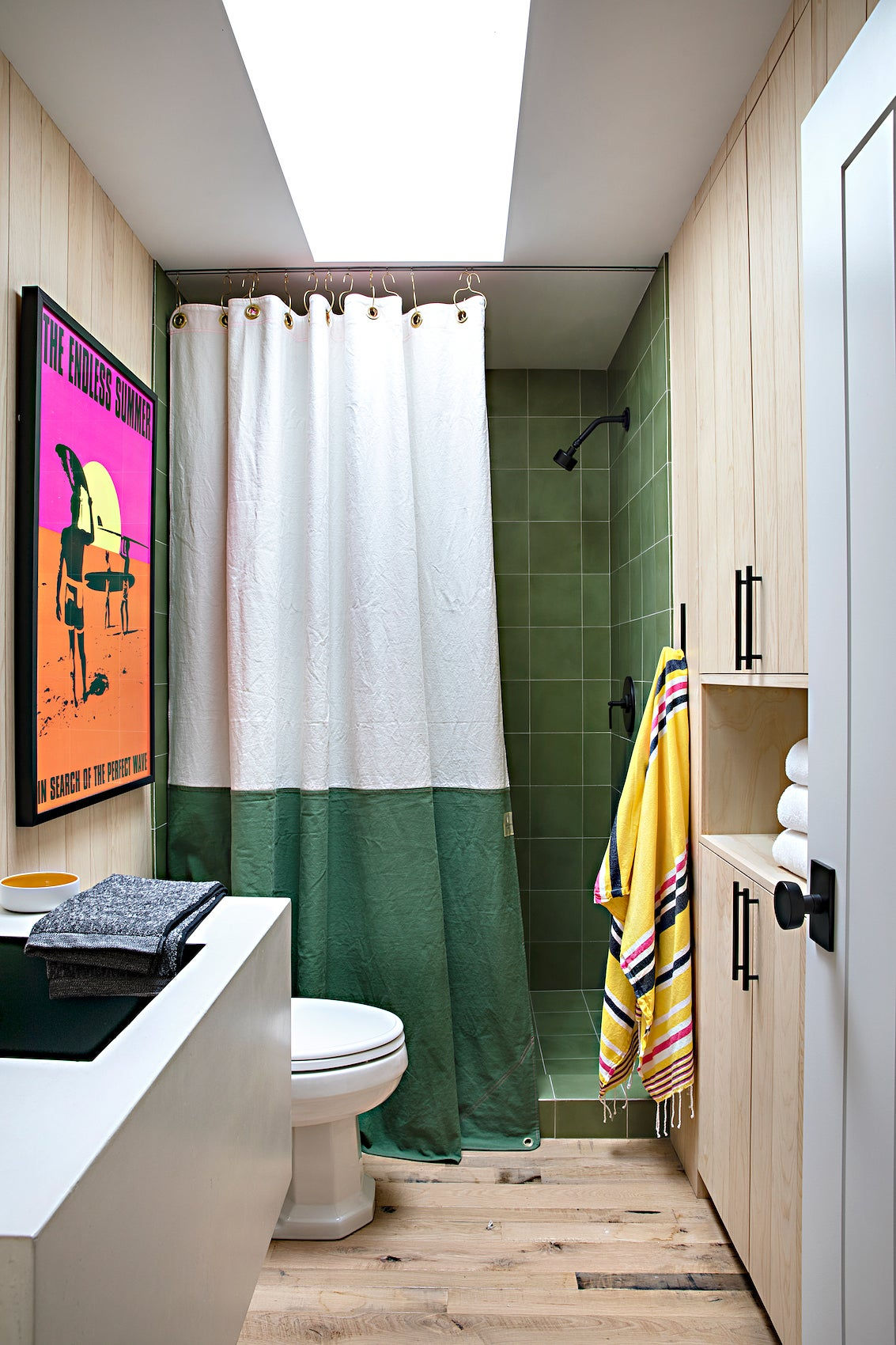 green bathroom shower curtain