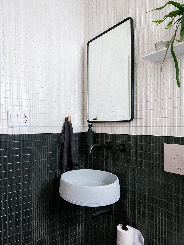 sink in corner of bathroom