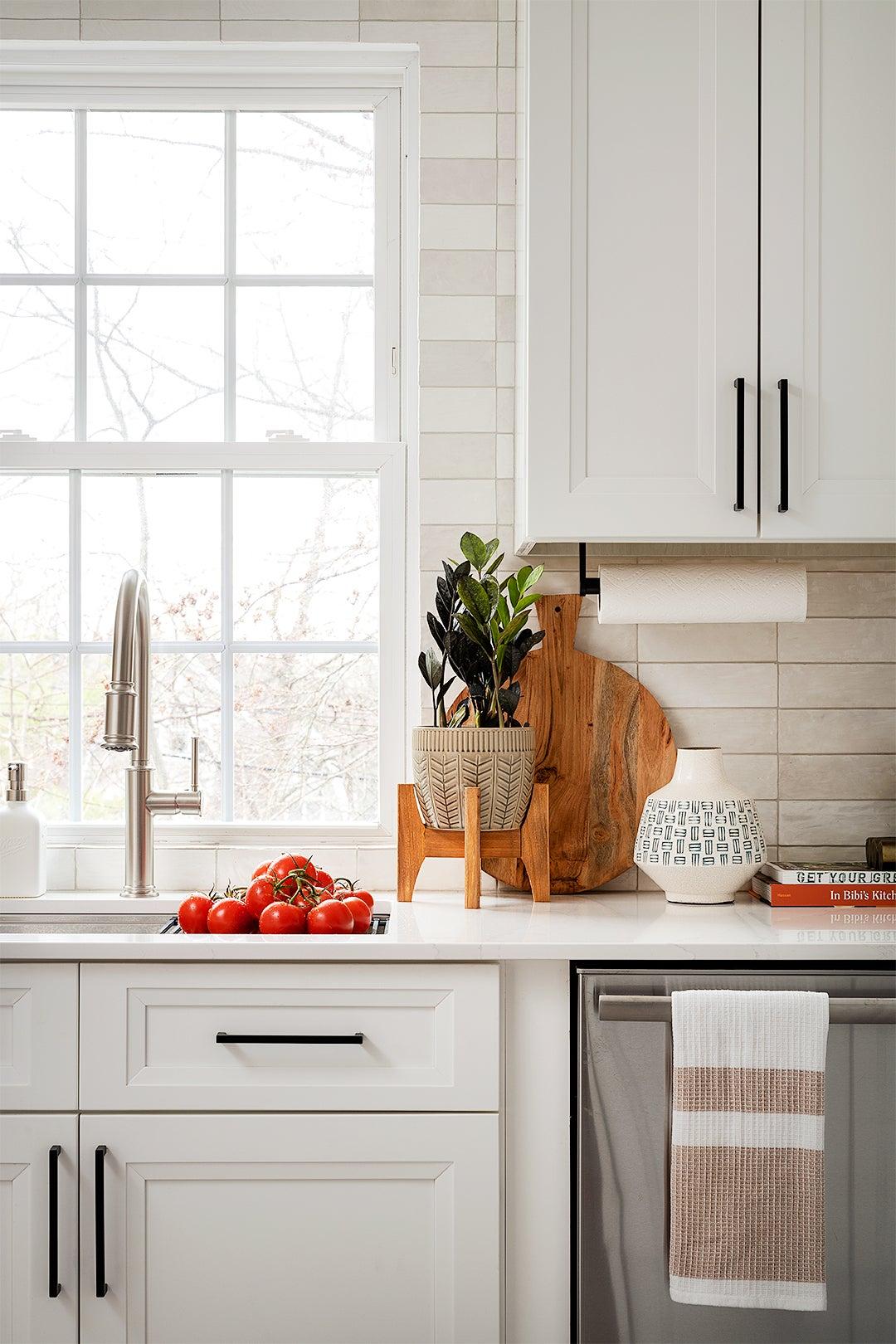 white cabinets near winodw