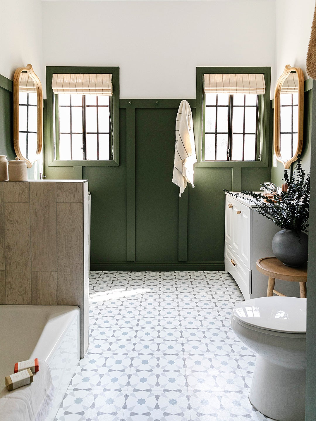 chic bathroom with green walls