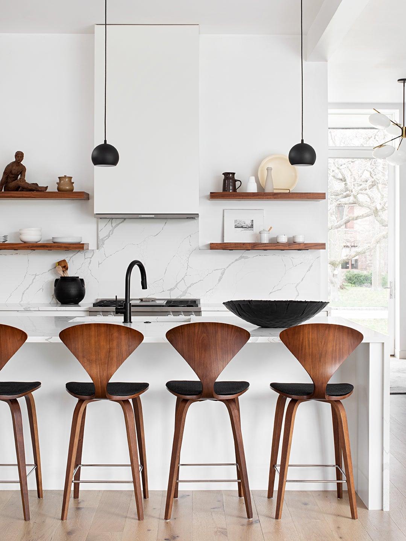 Vintage Norman Cherner Stools in White Kitchen