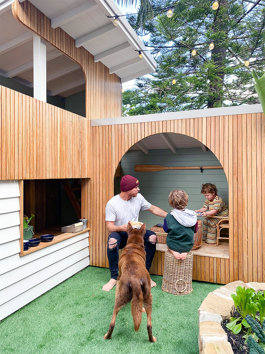 A Slide Made From Scratch Makes This Two-Level Playhouse Triple the Fun