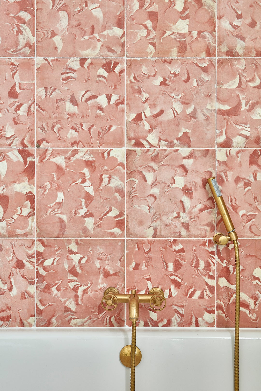 close-up of swirly pink tile