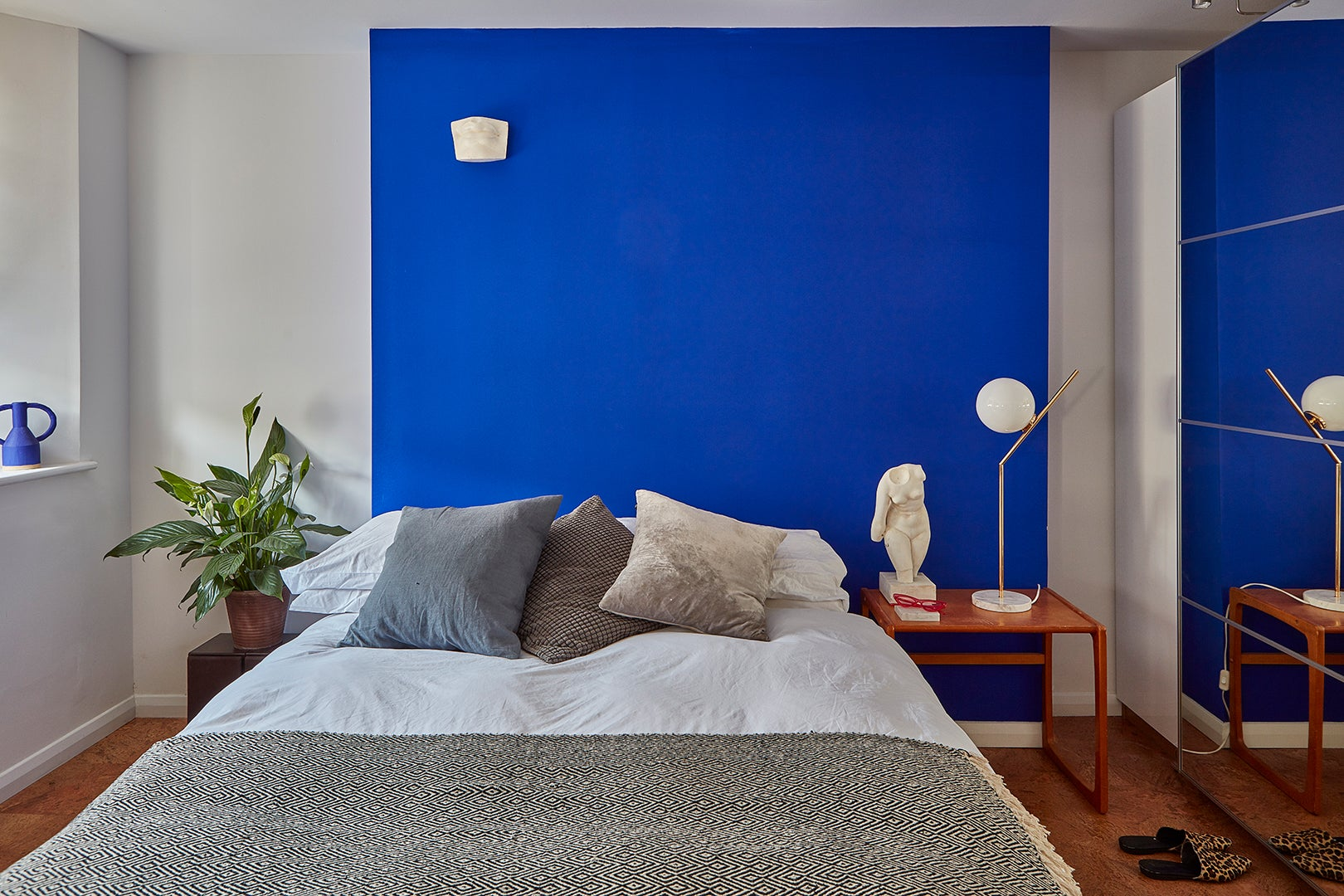 color-blocked blue bedroom