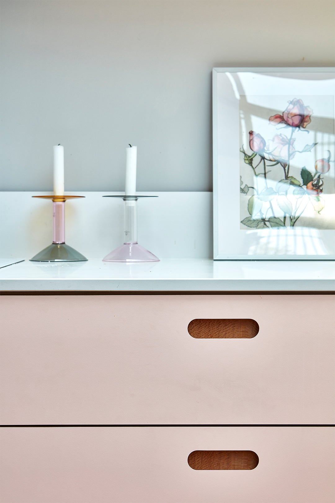 close-up of pink kitchen cabinet