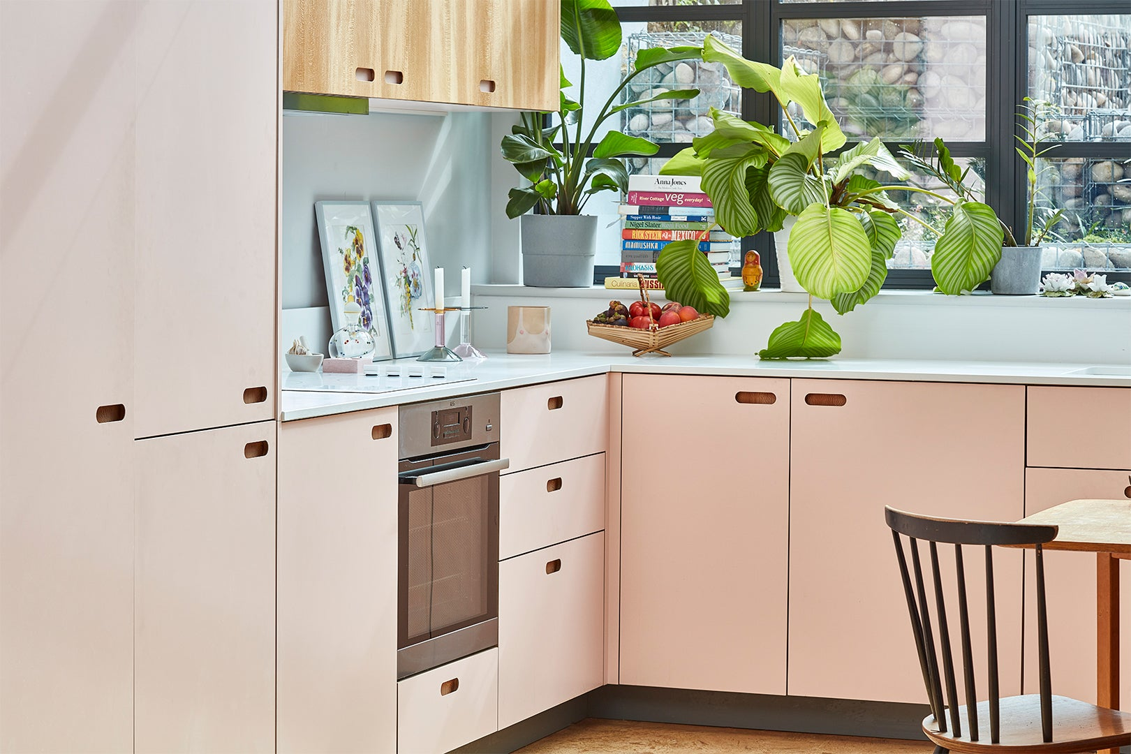 pink and wood kitchen cabinets