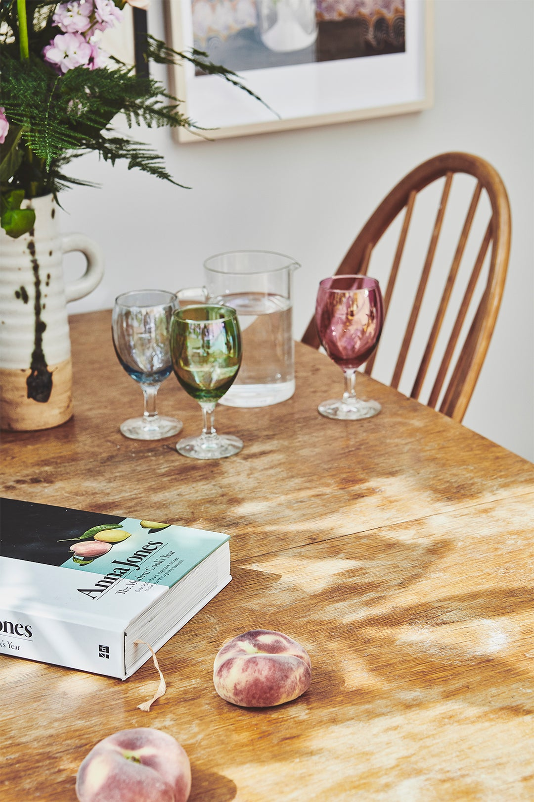 colorful wine glasses on table