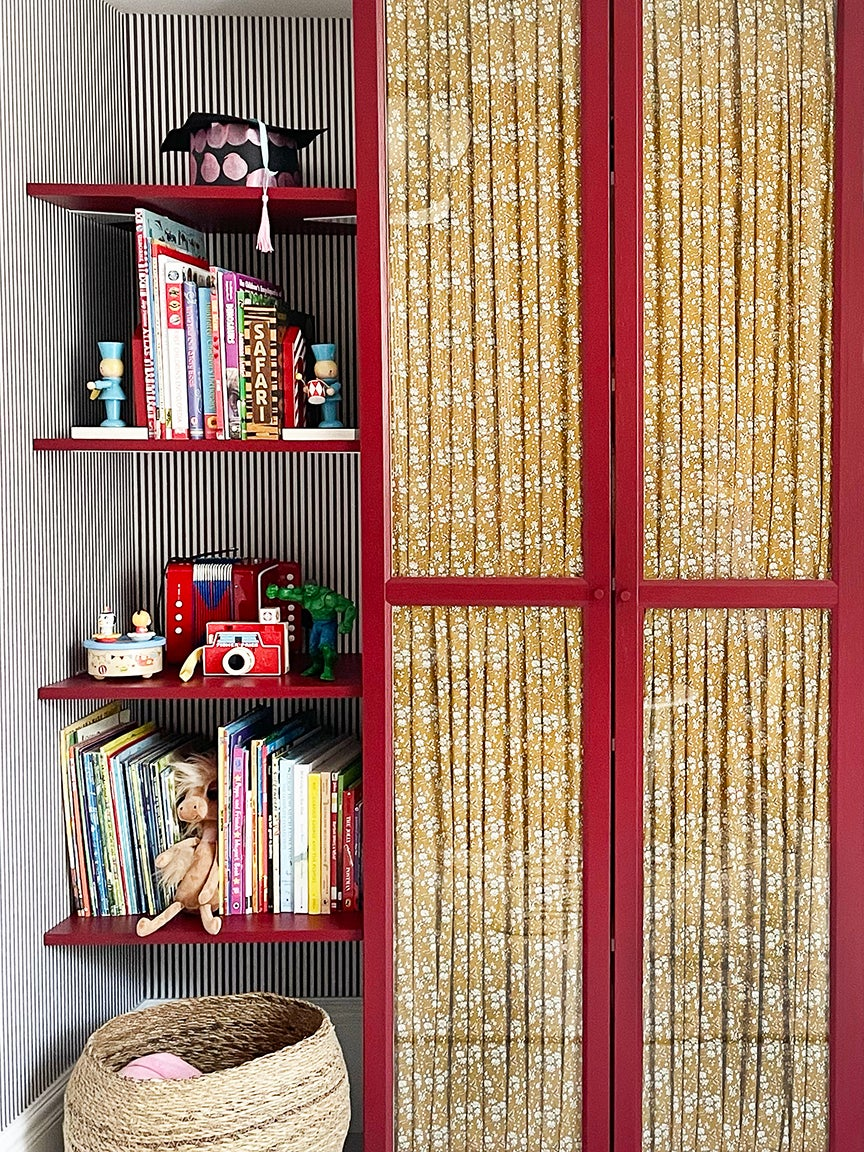 Liberty Fabric and a Lick of Cherry Red Paint Make This IKEA Hack Shine