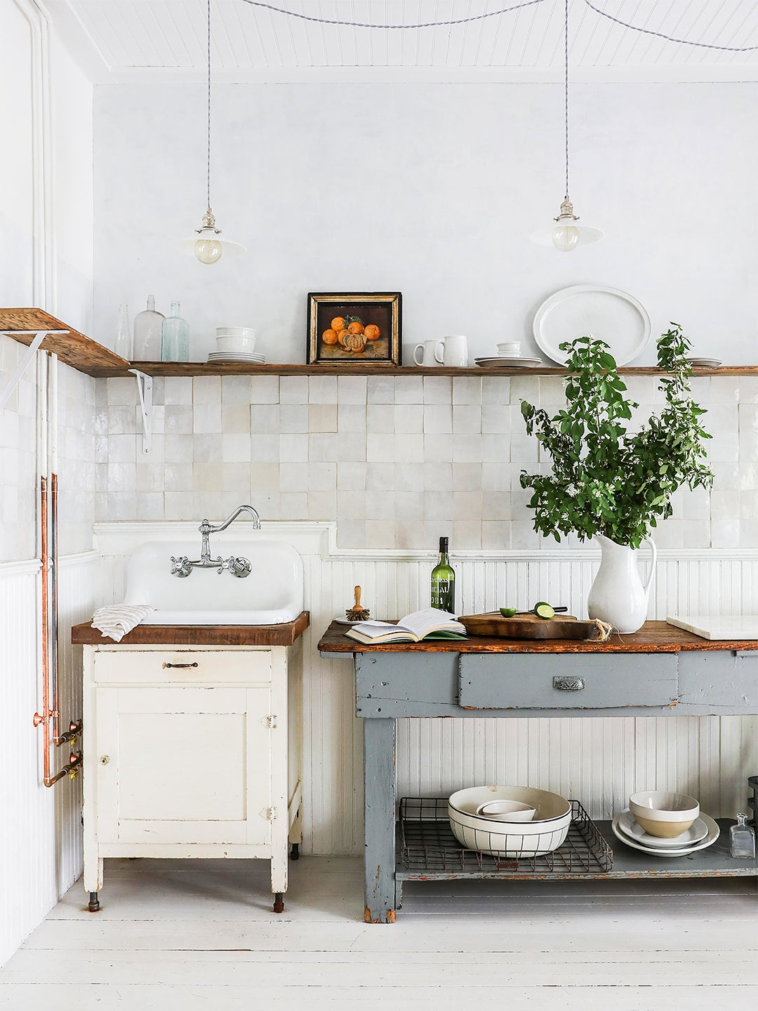 vintage kitchen sink and table