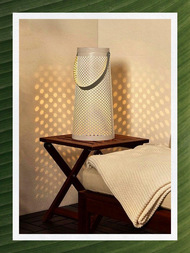 White Solar Lantern on Side Table