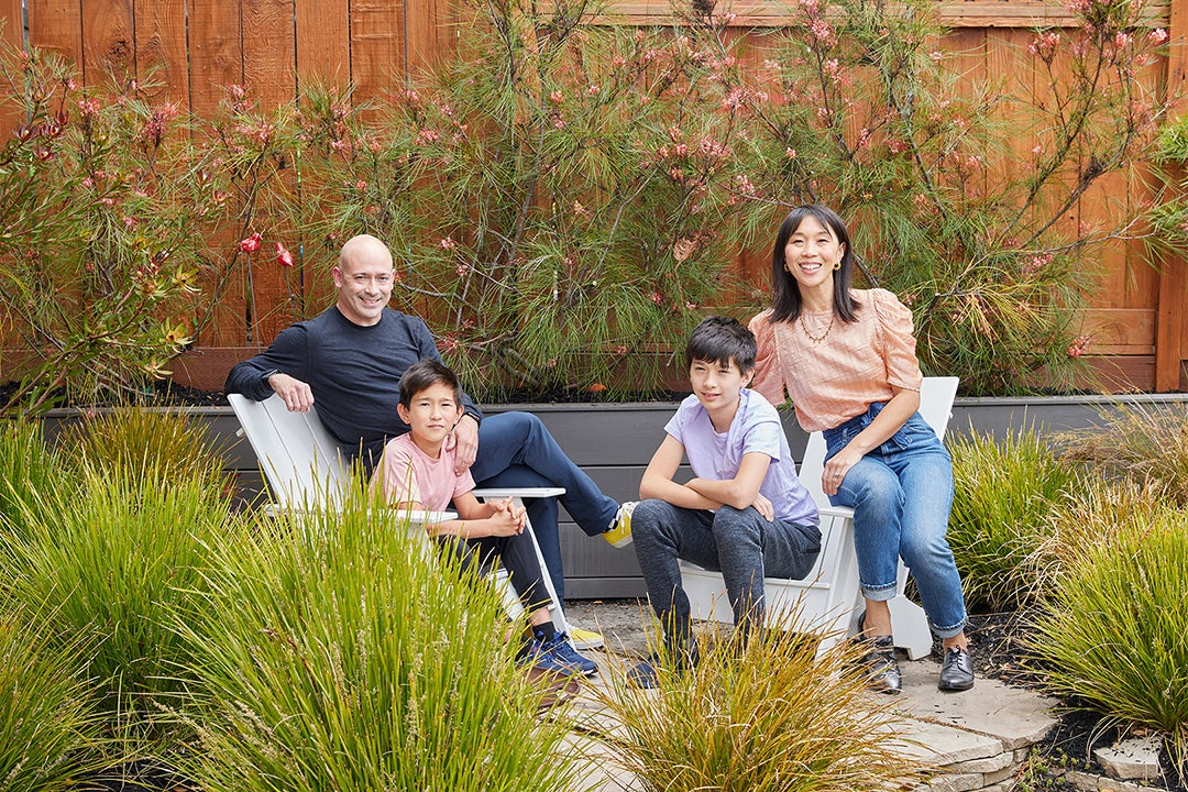 family picture in the garden