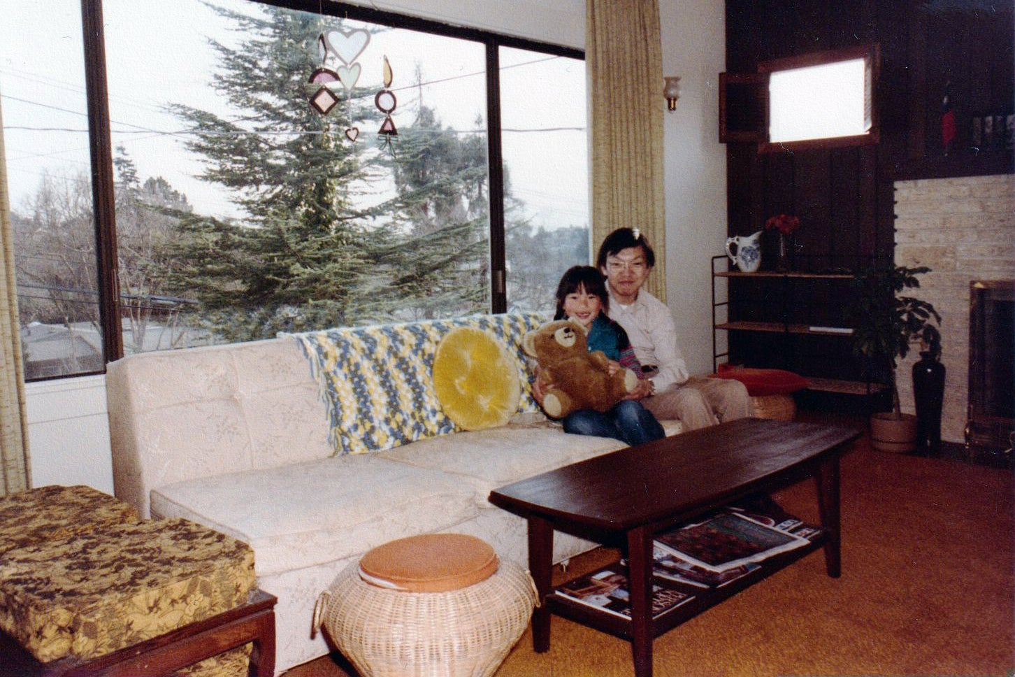 before family vintage photo in living room