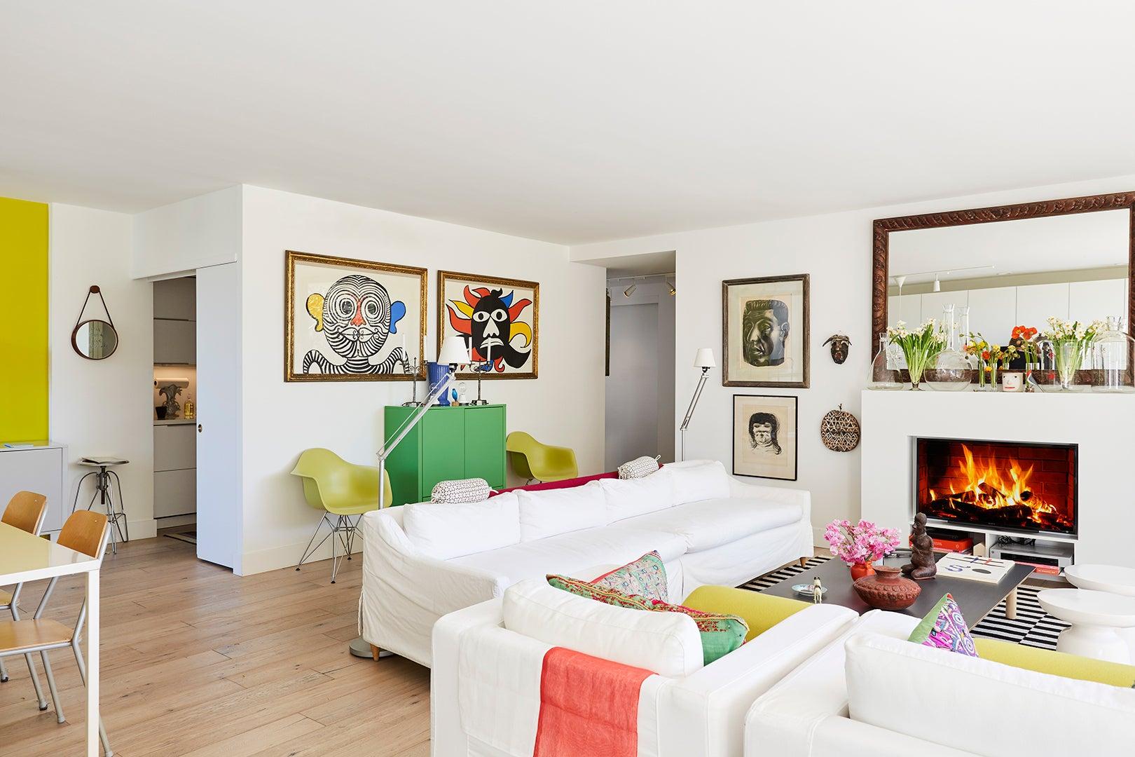 white sofas in living room