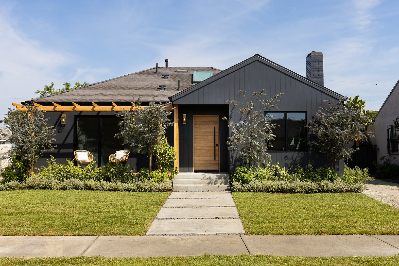 chic black house front