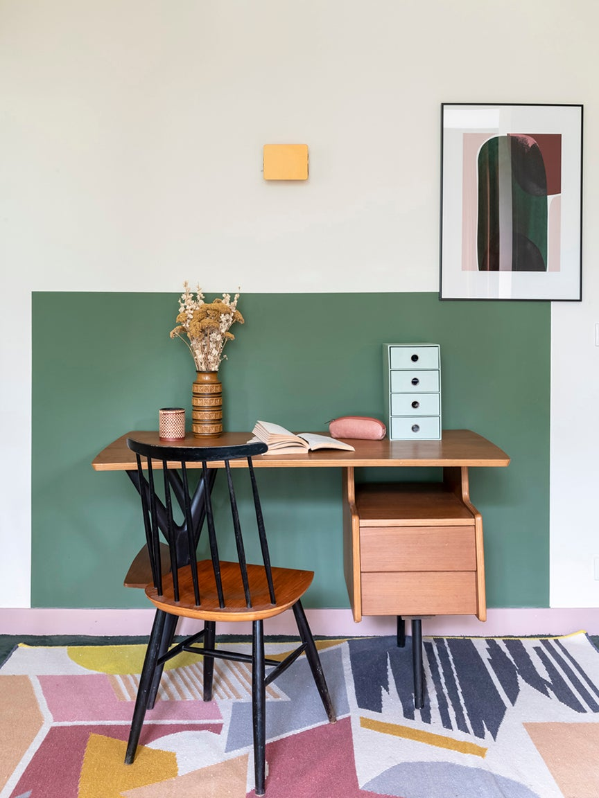 vintage wooden desk and chair in a teenage girl's bedroom