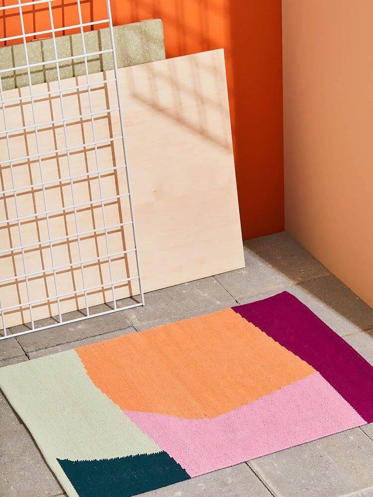 color blocked bath mat