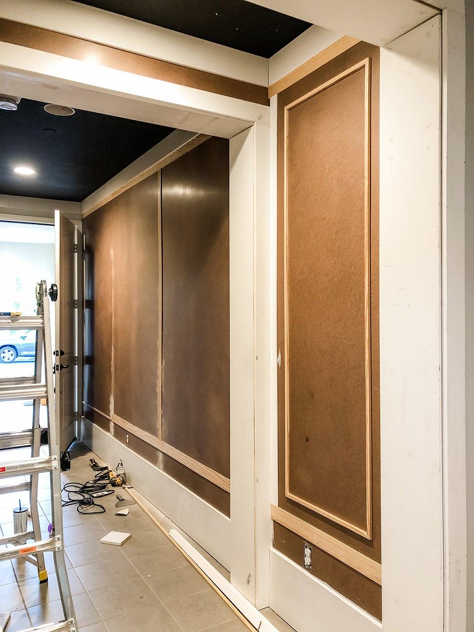 brown wall paneling