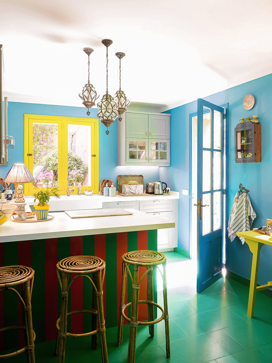 green and blue kitche n