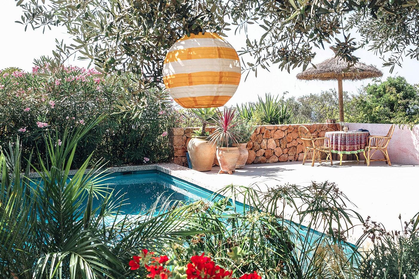 lantern over a pool